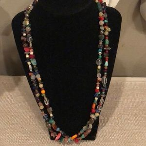 Colorful Stone Chips & Beads Necklace